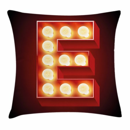 Letter E Throw Pillow Cushion Cover, Nightclub Inspired Alphabet Font Design Casino Gambling Theme Image, Decorative Square Accent Pillow Case, 16 X 16 Inches, Vermilion Yellow Black, by Ambesonne](Casino Theme Wedding)