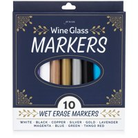 Jot & Mark Wine Glass Markers (10 Colors) | Erasable, Write on Glass and Customize Stemware for Weddings, Banquets, and Parties