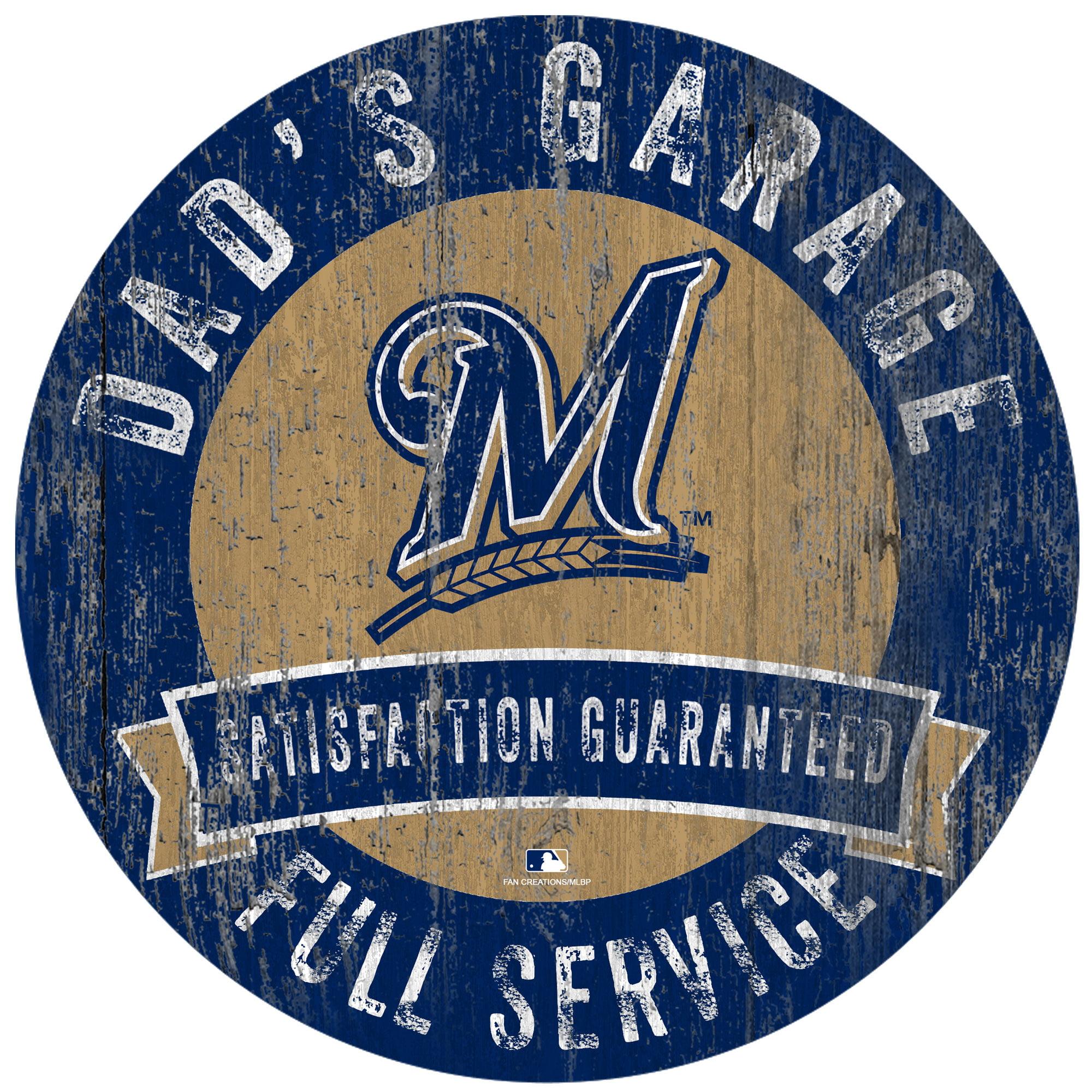 """Milwaukee Brewers 12"""" x 12"""" Dad's Garage Sign - No Size"""