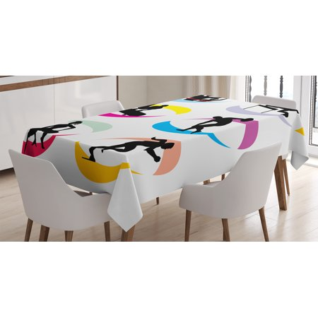 Olympics Decorations Tablecloth, Icons of Sport and Competition Games Jogging Jumping Running Sprinting, Rectangular Table Cover for Dining Room Kitchen, 52 X 70 Inches, Black Red, by Ambesonne