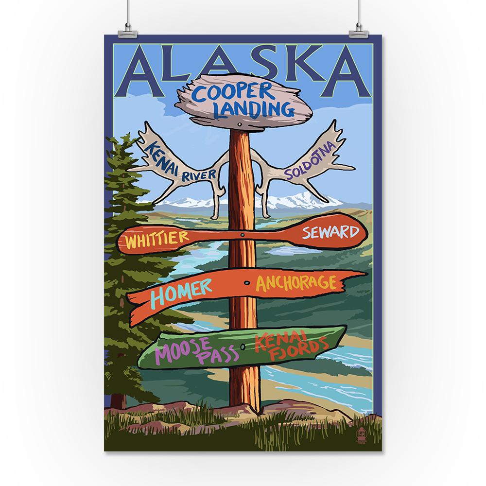 Kenai River, Alaska Sign Post Lantern Press Poster (9x12 Art Print, Wall Decor Travel Poster) by Lantern Press
