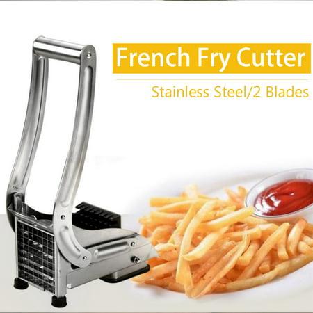 Stainless Steel 2 Blades French Fries Potato Chip Cutter Vegetable Slicer Food Onion Chopper Dicer Maker for Fruit Veg Potato 36/64 Hole ()