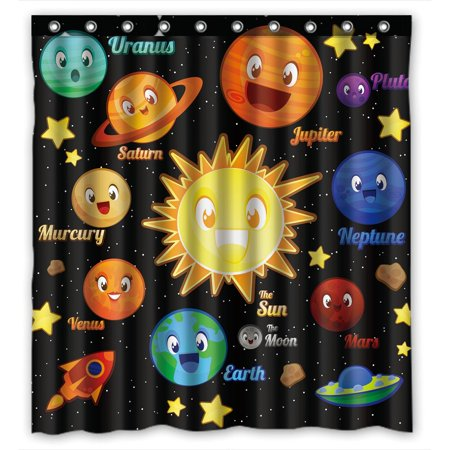 YKCG Funny Kids Education Planet Character Elements Shower Curtain Waterproof Fabric Bathroom Shower Curtain 66x72 inches