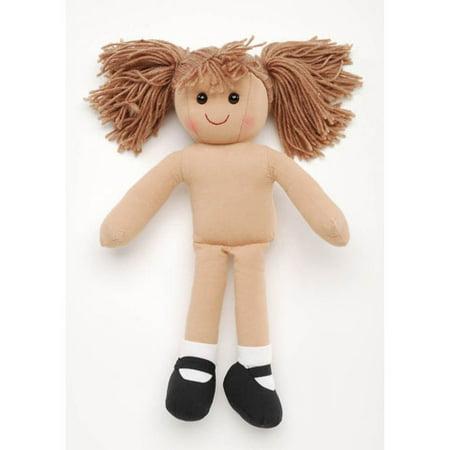 Girl Doll - Stuffed - Light Brown Yarn Hair - 13.75 - Bat Girl Hair