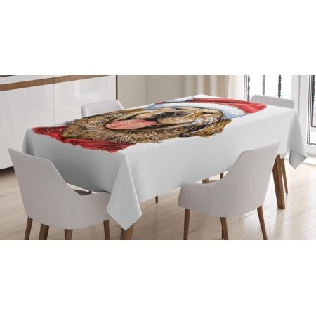 Celebration Caramels (Labrador Tablecloth, Funny Terrier Smiling in Xmas Dress Santa Clause Hat Celebration Theme, Rectangular Table Cover for Dining Room Kitchen, 60 X 84 Inches, Dark Coral Caramel, by)