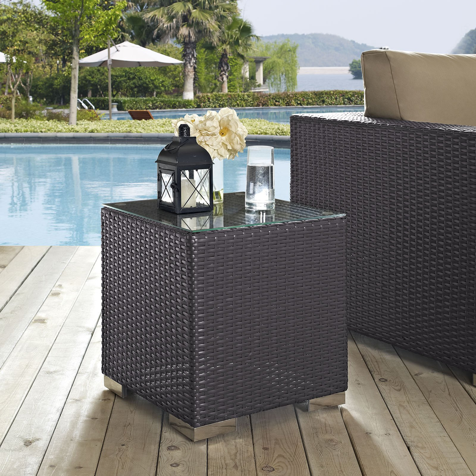 modway convene outdoor patio side table in espresso