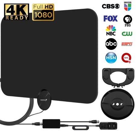 50 Miles HDTV Antenna, Fosmon Indoor Ultra Thin HDTV Antenna with Built-in Amplifier Signal Booster and High Signal Detachable Stand w/ Capture of 9.8ft Coaxial Cable, 50 Miles Range (The Best Coaxial Cable For Hdtv)