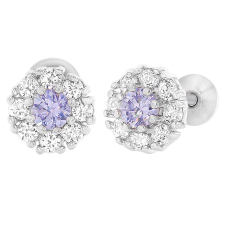 Rhodium Plated Flower Crystal CZ Screw Back Baby Girls Earrings 7mm