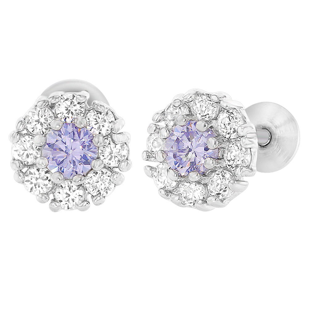 Rhodium Plated Flower Lavender Purple Clear Screw Back Baby Girls Earrings