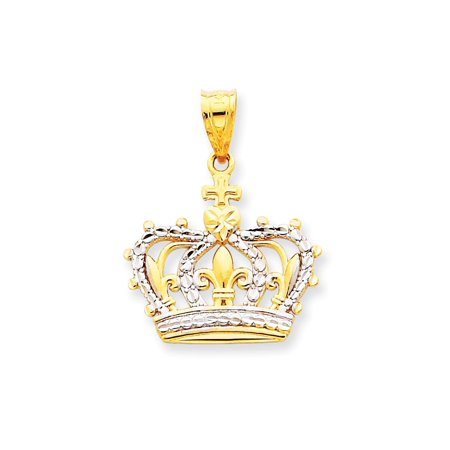 14k Yellow Gold Crown Pendant Charm Necklace Man Gift For Dad Mens For Him](Gold Crown Necklace)