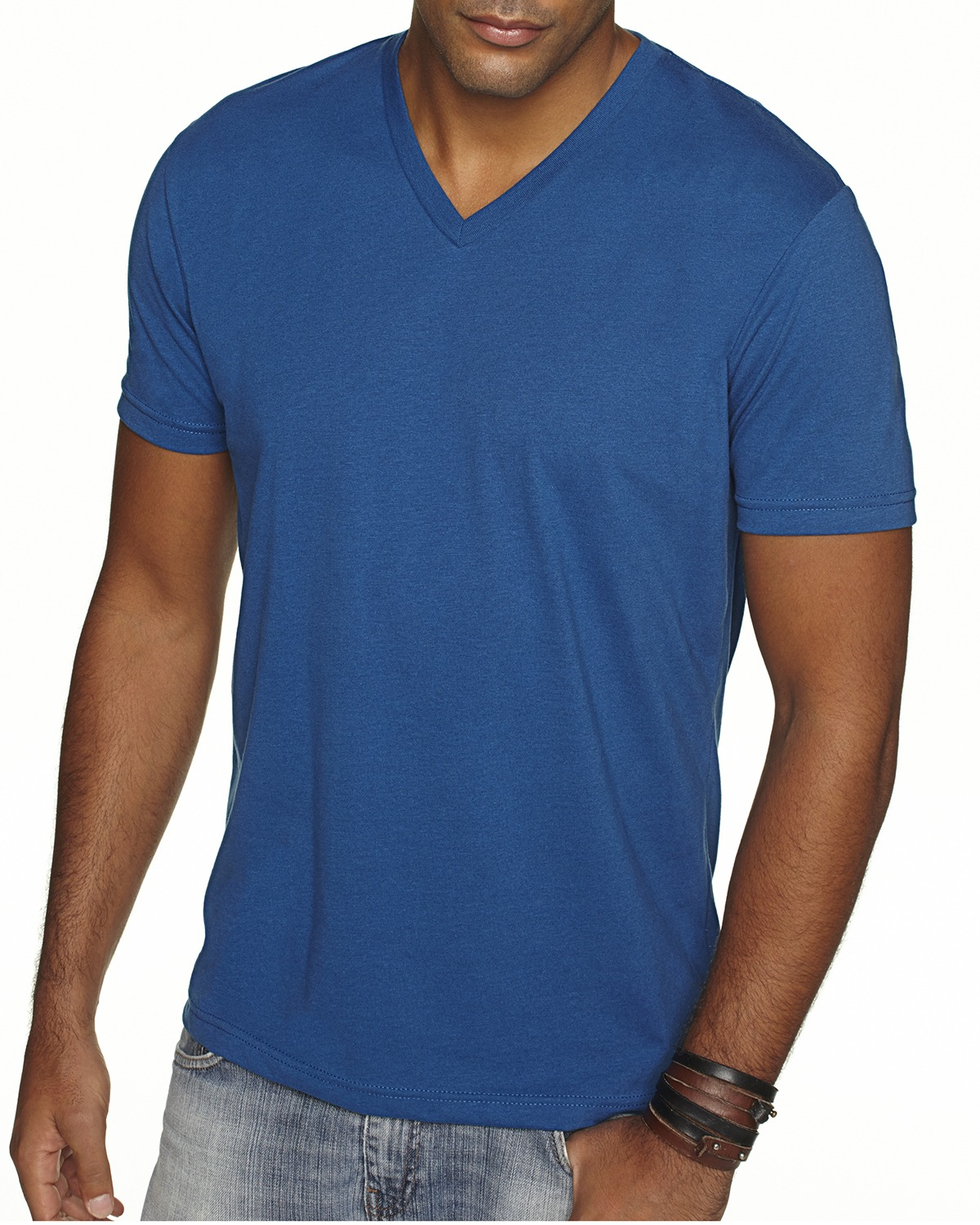 Branded Next Level Mens Sueded V - COOL BLUE - S (Instant Saving 5% & more on min 2)