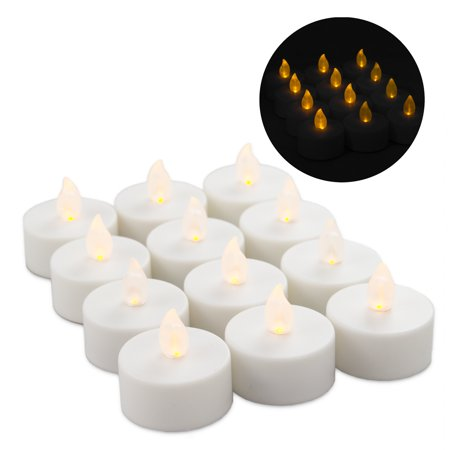 on sale b04f7 08010 12 LED Tea Lights Votives Battery Operated Flameless Flickering Orange  Candles