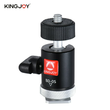 Kingjoy BD-0S Mini Ball Head Mount with Hot Shoe Adapter for LED Light Monitor Tripod DSLR Camera Camcorder Video Studio Photo Camera Hot Shoe Adapter
