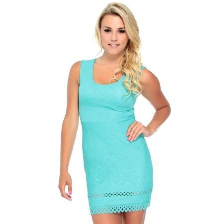 Floral Pattern Texture and Laser Cut Hem Jacquard Dress, Mint,