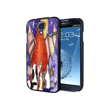 KuzmarK Samsung Galaxy S4 Black Cover Case - Batty Kitty Family & Full Moon Halloween Cat Art by Denise Every (S4 Dallas Halloween)