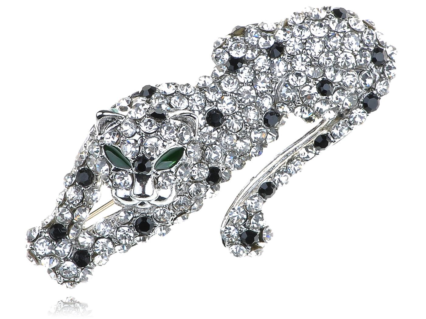 Clear Crystal Rhinestone Silver Tone Fierce Looking Cougar Animal Pin Brooch by