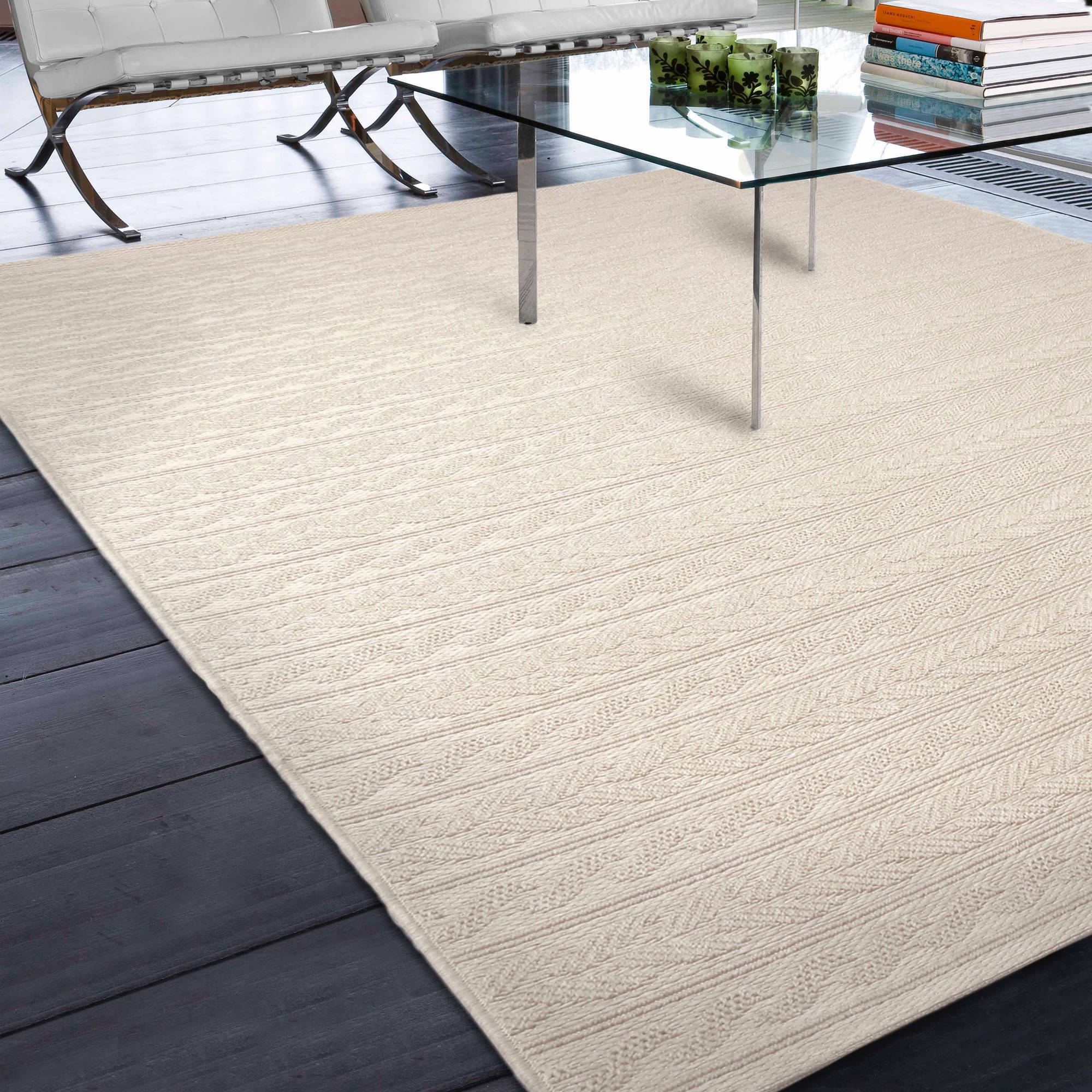 Better Homes and Gardens Indoor/Outdoor Cable Rows Ivory Area Rug