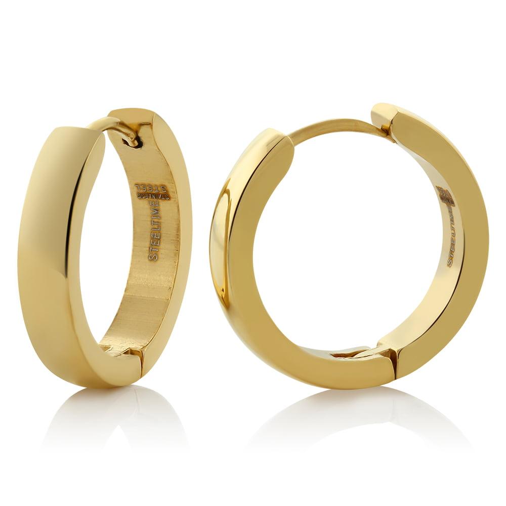 Stainless Steel Gold Plated Round Huggies Hoop Earrings (20mm Diameter)