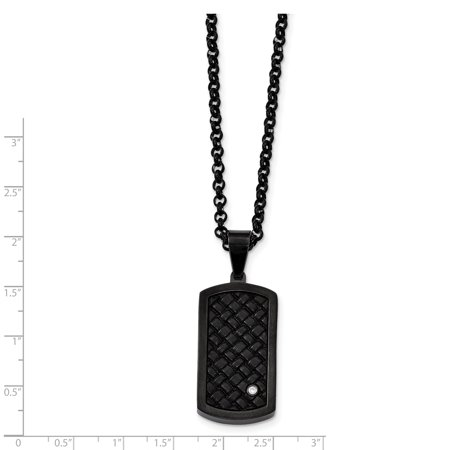 Stainless Steel Brushed Black Leather Black IP CZ Dogtag Necklace 24in - image 1 of 3