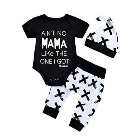 Baby Boy Letter Short Sleeve Romper Bodysuit Cross Legging Pant Clothes Outfit