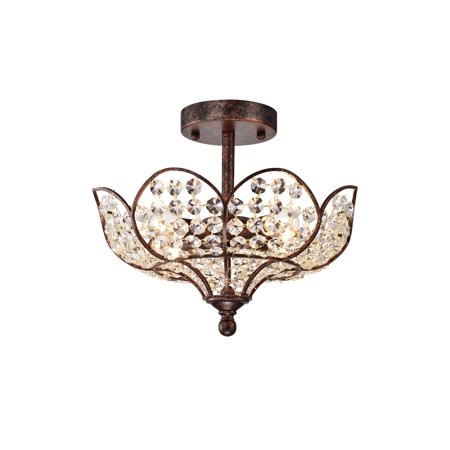 Darnue 4-light Hanging Lotus Semi-Flushmounted Ceiling Lamp in Rustic Bronze with Crystal Shade Bronze Ceiling Lamp