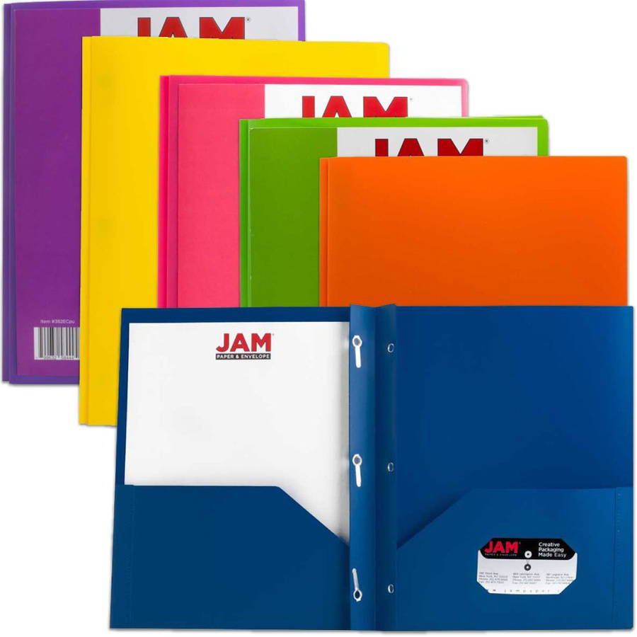 JAM Paper Plastic 2,Pocket Folders, Eco Friendly Folder with Metal Clasps, Assorted Colors, Pack of 6 Folders