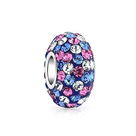 Blue Pink Purple Multi Color Striped Crystal Spacer Bead Core 925 Sterling Silver Fits European Charm Bracelet For Women