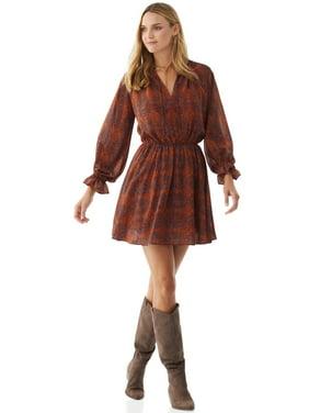 Scoop Women's Printed Long Sleeve Dress