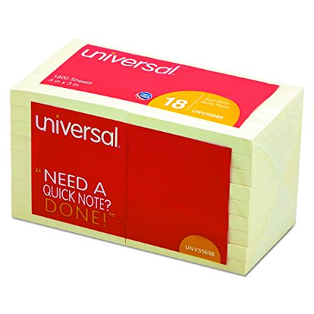 Universal 35688 Standard Self-Stick Notes  3 x 3  Yellow  18 100-Sheet Pads Pack - image 2 of 3