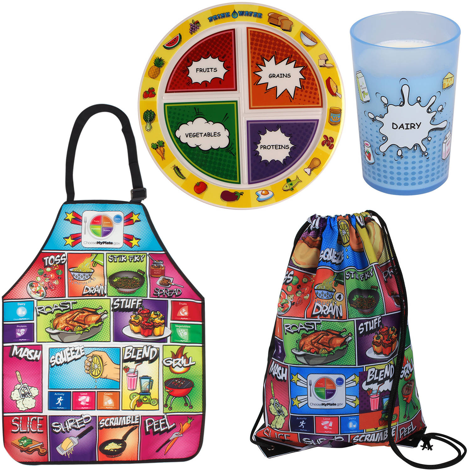Fresh Baby MyPlate Dinnerware, Apron and Backpack Bag Set, Comic Book design