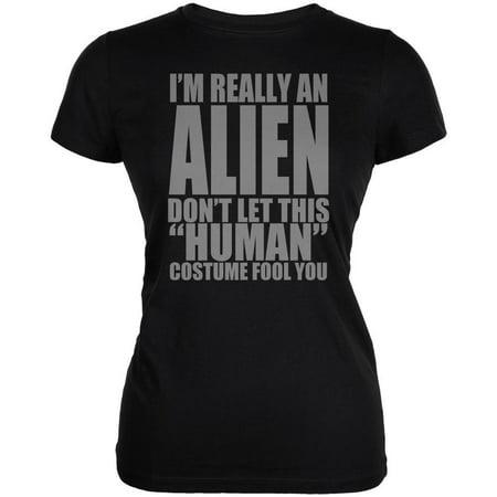 Halloween Human Alien Costume Juniors Soft T Shirt - Baby Aliens Halloween