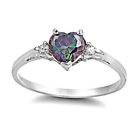 Madison: 0.81ct Heart Cut Simulated Mystic Topaz Promise Friendship Ring sz 4.5