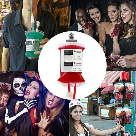 Vampire Halloween Party Decorations (5Pcs 400ml Energy Blood Bag Hallowen Reusable Drink Bottle Vampire Diaries Props Party Halloween)