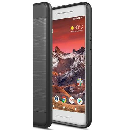 Google Pixel 2 Case, Torryka 2-Piece Sleek Drop protection Style Slim Brush Texture Protective Hybrid Defender Armor Case Cover for Google Pixel 2 (Black)