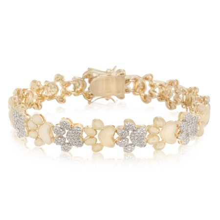 - Lumineux Diamond Accent Paw Link Bracelet in Rhodium and Yellow Gold Plated Sterling Silver
