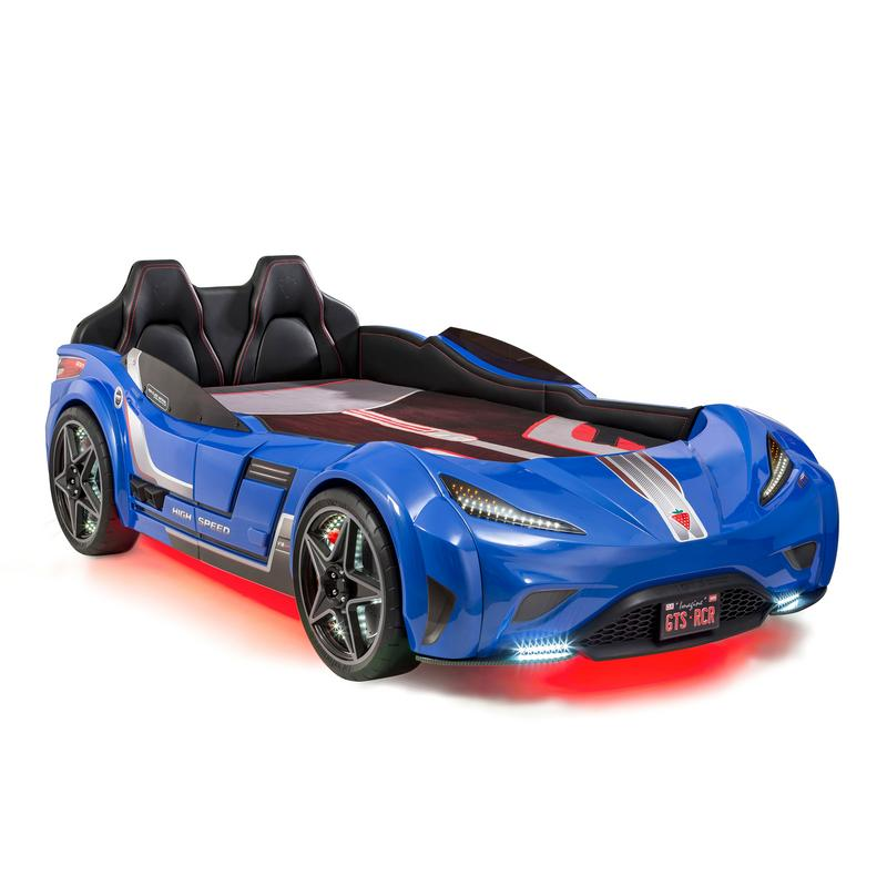 GTS White Twin Race Car Bed in Multiple Colors