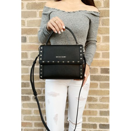 Michael Kors Dillon Studded Medium Top Handle Messenger Bag Black