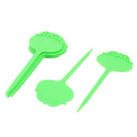 Garden Plastic Flower Design Succulent Plant Name Marker Tag Label Green -