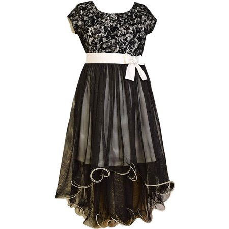 Big Girls Tween 7-16 Black/White Lace and Tulle High Low Wire Hem Maxi Dress, 14 [BNJ06329] - Tween Dance Dresses