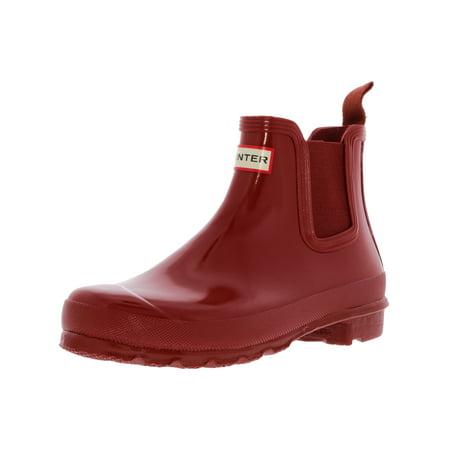 Hunter Women's Original Chelsea Gloss Military Red High-Top Rubber Rain Boot - 8M