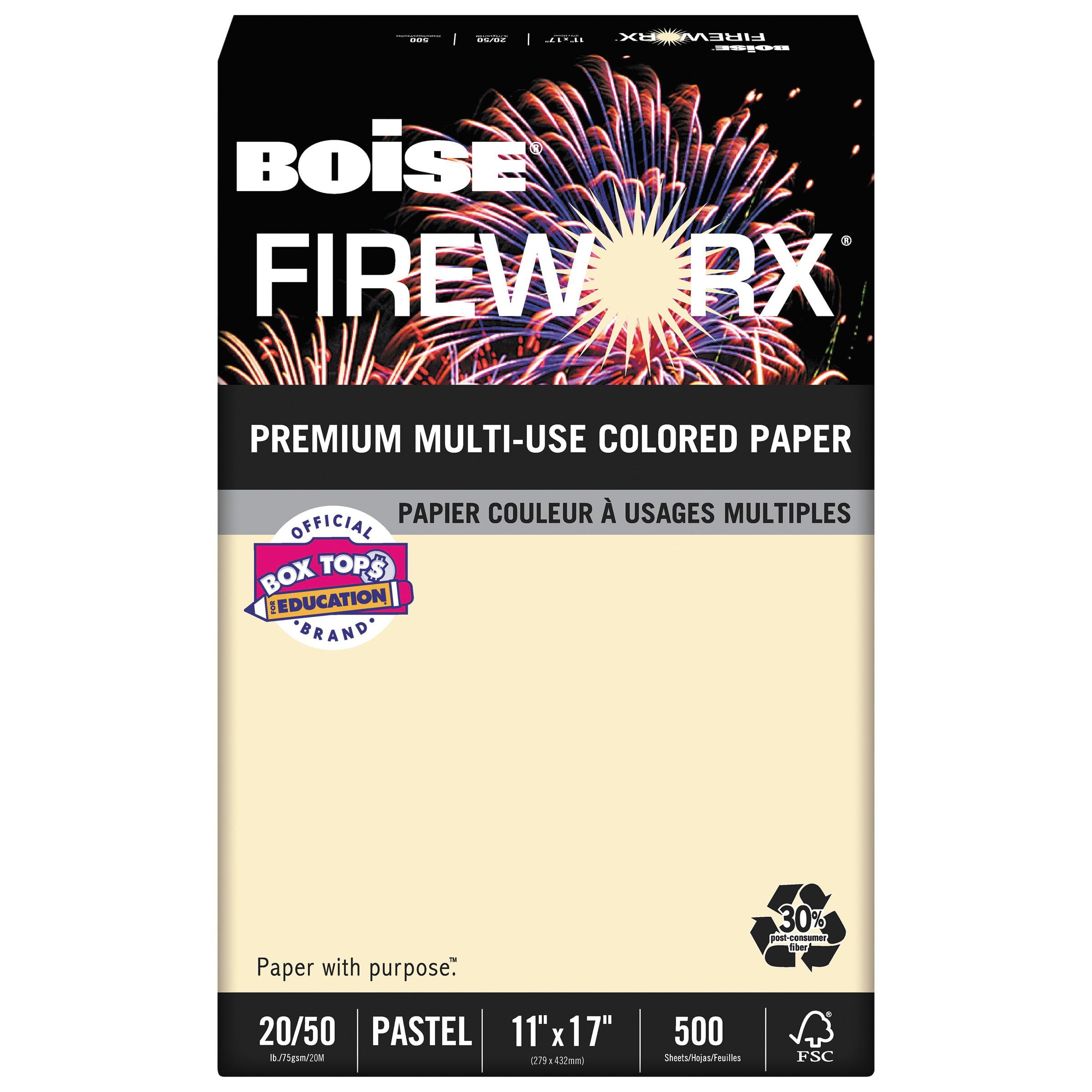 Boise FIREWORX Colored Paper, 20lb, 11 x 17, Flashing Ivory, 500 Sheets/Ream -CASMP2207IYRM