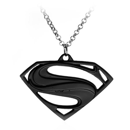 - Quality Superman Black Necklace Tarnish Resistant Superhero Pendant  Chain J-346-B