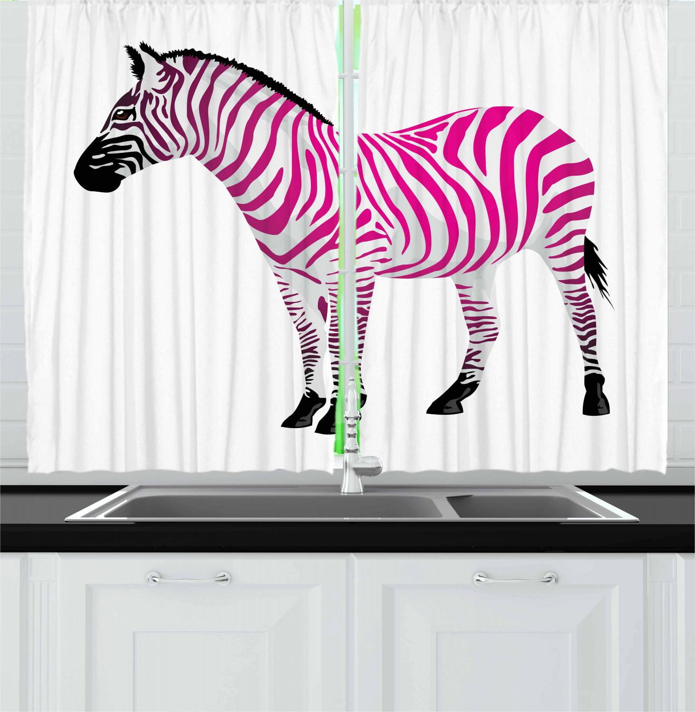 Pink Zebra Curtains 2 Panels Set, Zebra Figure in Pink ...