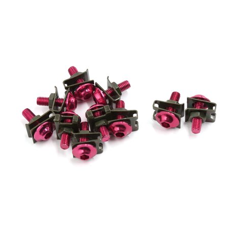 Unique Bargains 10pcs M6 Red Bolts Screws Fastener Clips Kit for Motorcycle Windscreen Fairing