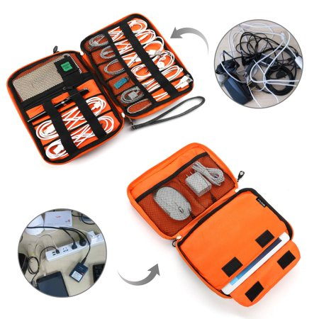 Electronics Organizer,Double-Layer Travel Cable Organizer Electronics Accessories Cases for Cables, iPhone, Kindle Charge, Camera Charger, MacBook