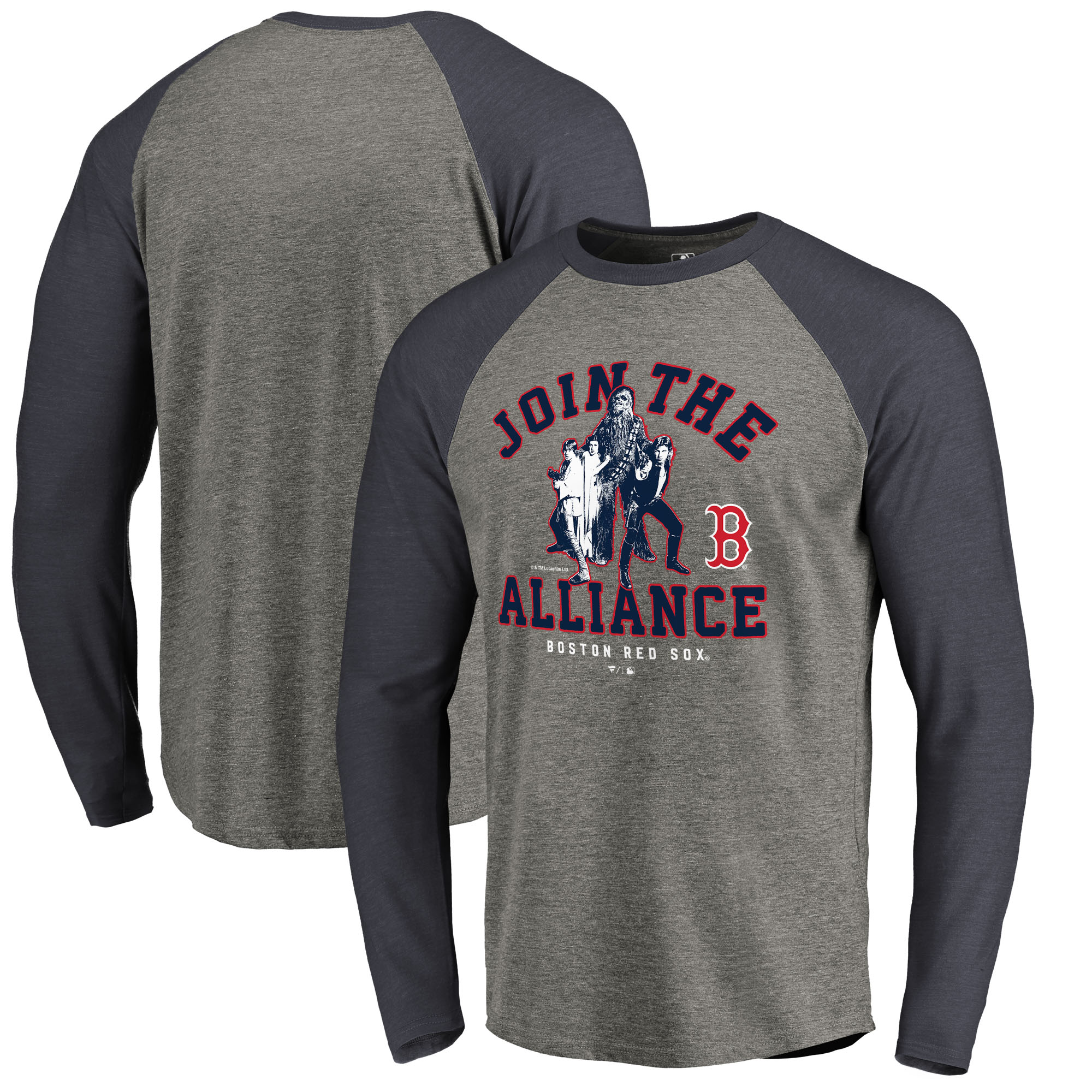 Boston Red Sox Fanatics Branded MLB Star Wars Join The Alliance Raglan Long Sleeve T-Shirt - Heather Gray