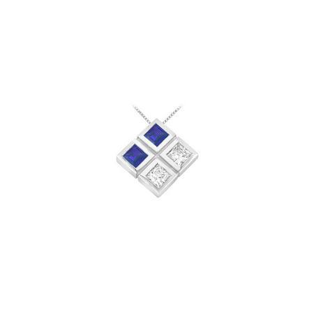 Blue Sapphire and Diamond Pendant 14K White Gold 1.00 CT TGW - image 2 of 2