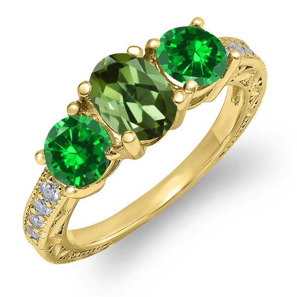 2.50 Ct Oval Green Tourmaline Green Simulated Emerald 14K Yellow Gold Ring by
