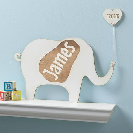 Personalized Antique White Wood Elephant