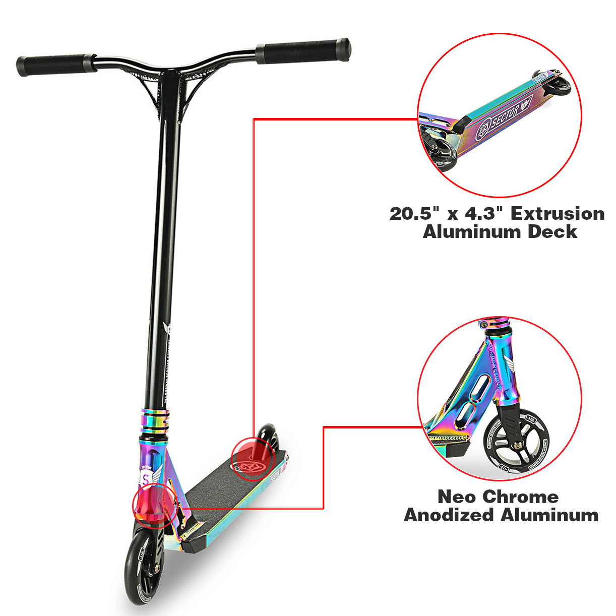 Click here to buy Longway Sector Neo Chrome Pro Stunt Kick Scooter Anodized Aluminum BMX Handlebar by Longway.